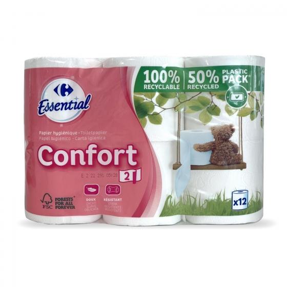 Papel higiénico confort suave Carrefour 12 rollos.