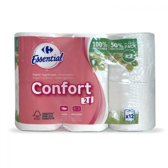 Papel higiénico confort suave Carrefour 12 rollos. - 1