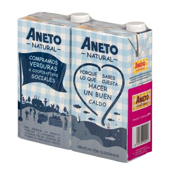 Caldo natural de pescado Aneto sin gluten y sin lactosa pack de 2 briks de 1 l. - 1
