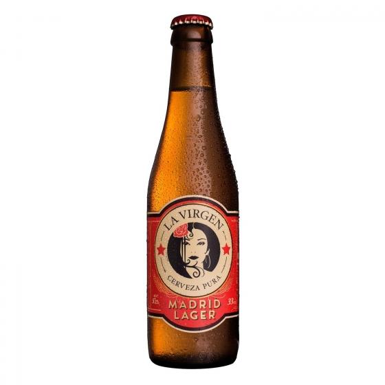 Cerveza artesana La Virgen Madrid Lager botella 33 cl.