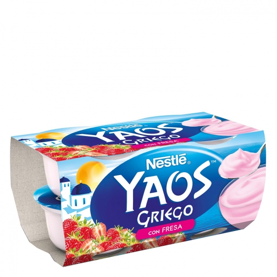Yogur griego con fresa Nestlé Yaos pack de 4 unidades de 120 g.