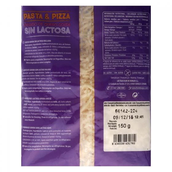 Queso rallado gouda Miraflores sin lactosa 150 g. - 1