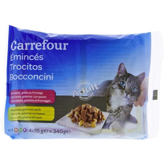 Carrefour Comida Húmeda para Gato Adulto de Pollo y Buey 4x85g