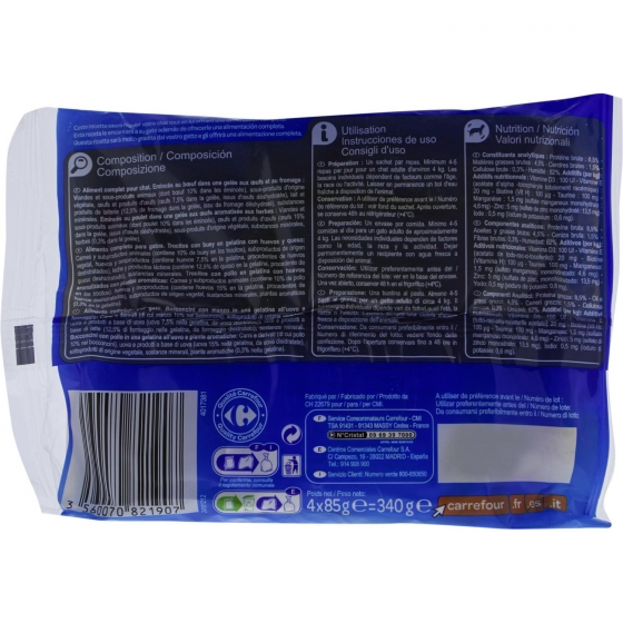 Carrefour Comida Húmeda para Gato Adulto de Pollo y Buey 4x85g - 1