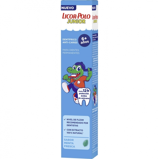 Dentífrico con fluor junior + 6 años Licor del Polo 75 ml.