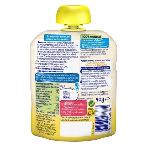 Preparado multifrutas desde 4 meses Nestlé sin gluten bolsita de 90 g. - 1