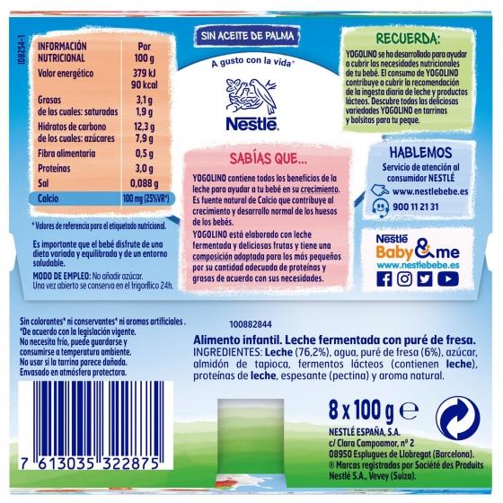Postre lácteo de fresa desde 8 meses Nestlé Yogolino sin gluten pack de 8 unidades de 100 g. - 3