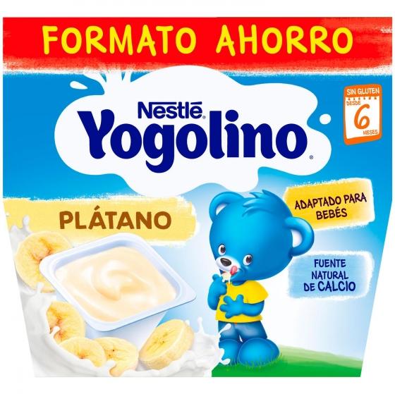 Postre lácteo de plátano desde 6 meses Nestlé Yogolino sin gluten pack de 8 unidades de 100 g.