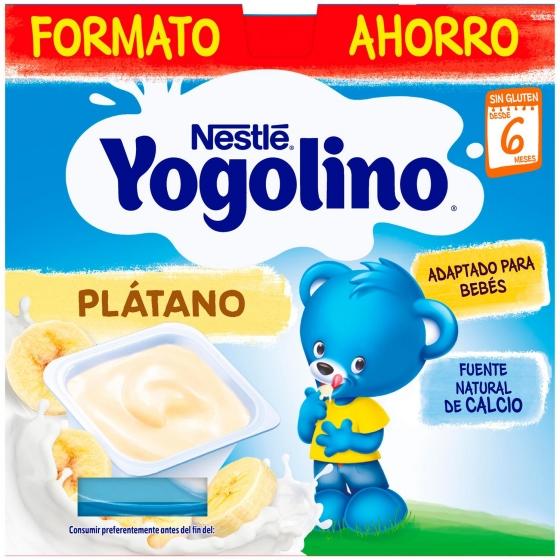 Postre lácteo de plátano desde 6 meses Nestlé Yogolino sin gluten pack de 8 unidades de 100 g. - 1