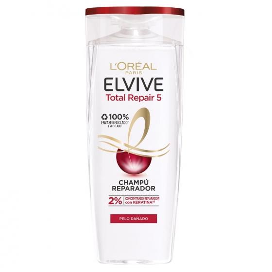 Champú Total Repair 5 para cabellos dañados L'Oréal-Elvive 370 ml.