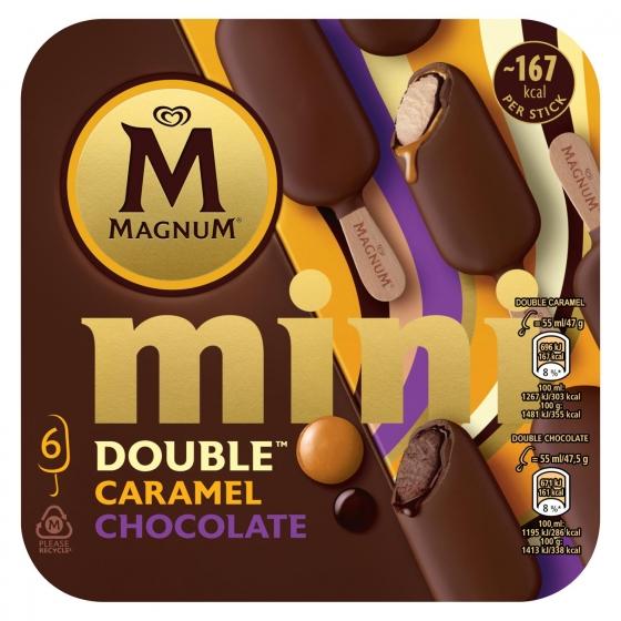 Mini bombón helado Double Caramel Chocolate Magnum 6 ud.
