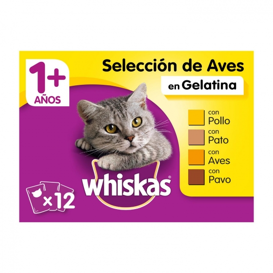 Whiskas Multipack de 4 Bolsitas para Gatos Adultos Selección de Aves 100gr
