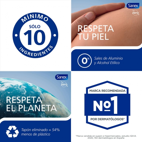 Desodorante en spray Zero 0% para piel normal Sanex Men 200 ml. - 1