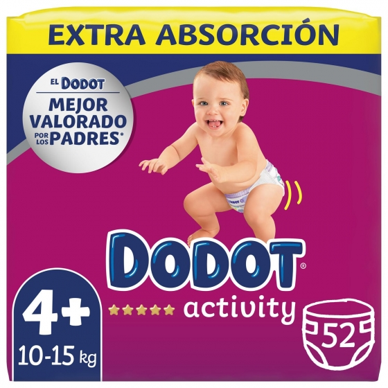 Pañales Dodot Activity extra absorción T4+ (10kg-15kg.) 52 ud. - 1