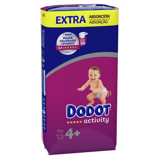 Pañales Dodot Activity extra absorción T4+ (10kg-15kg.) 52 ud. - 3