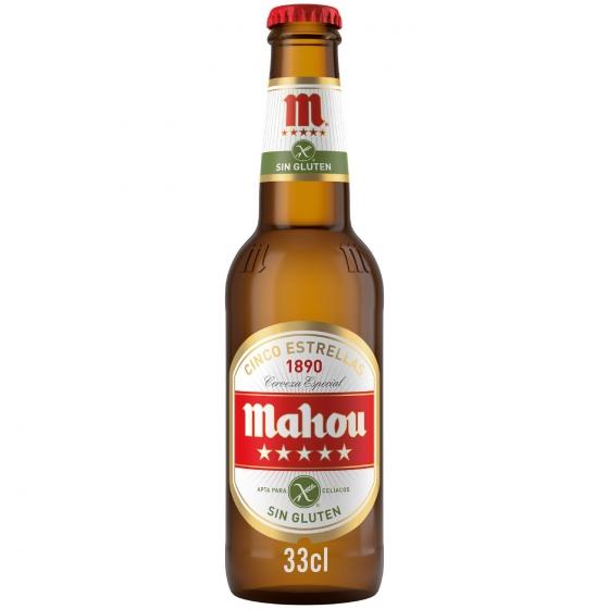 Cerveza Mahou 5 Estrellas especial sin gluten botella 33 cl.