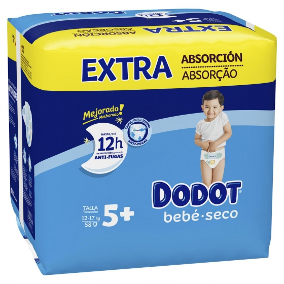 Pañales Dodot extra absorción T5+ (12kg-17kg.) 66 ud. - 1