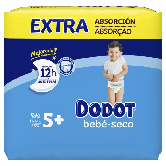 Pañales Dodot extra absorción T5+ (12kg-17kg.) 66 ud. - 3