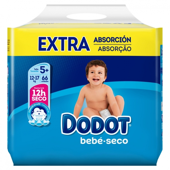 Pañales Dodot extra absorción T5+ (12kg-17kg.) 66 ud. - 6