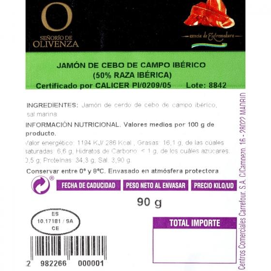 Jamón ibérico de cebo en lonchas Señorío de Olivenza 90 g - 1