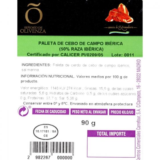 Paleta ibérica de cebo en lonchas Señorío de Olivenza 90 g - 3