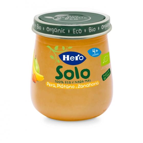 Tarrito de pera, plátano y zanahoria desde 4 meses ecológico Hero Baby Solo 120 g.