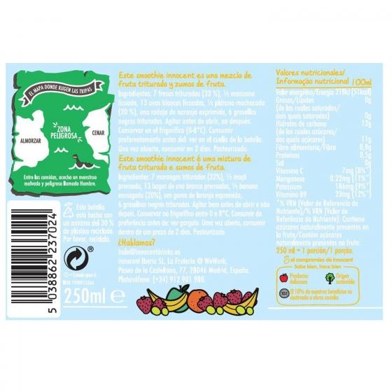 Smoothie de fresa y plátano innocent botella  25 cl. - 5