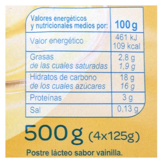 Natillas de vainilla Carrefour pack de 4 unidades de 125 g. - 1