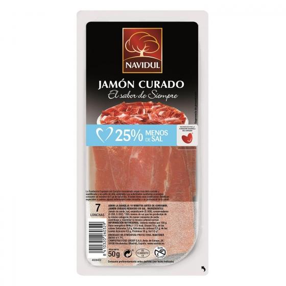 Jamón curado 25% menos de sal Navidul sin gluten 50 g.