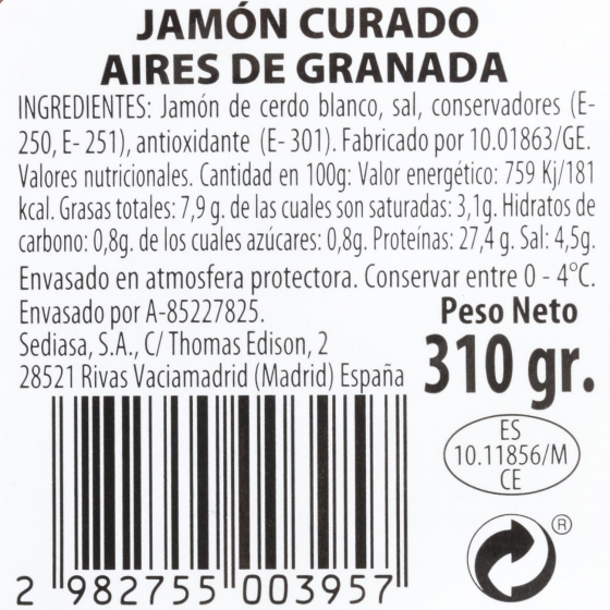 Jamón curado en lonchas Aires de Granada 310 g - 1