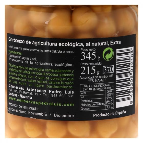 Garbanzo cocido ecológico Pedro Luis 345 g. - 1