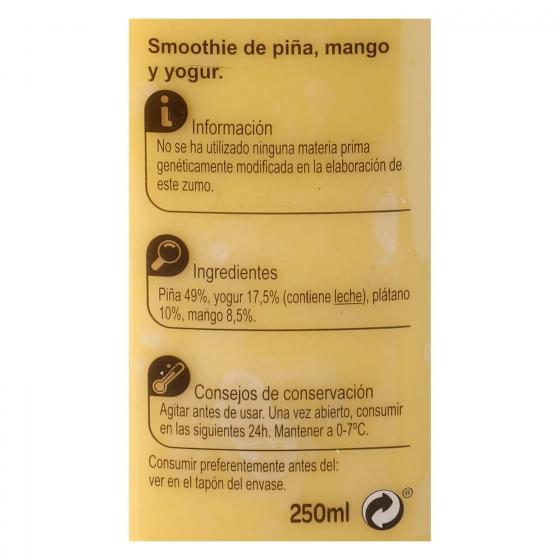 Smoothie piña, mango y yogur Carrefour botella 25 cl. - 1