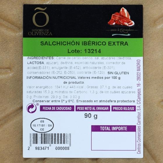 Salchichón ibérico de cebo plato loncheado Señorío de Olivenza 90 g - 3