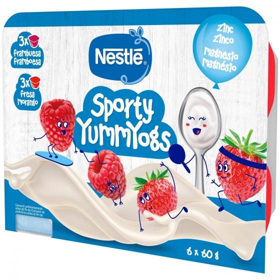 Postre lácteo de fresa y frambuesa desde 8 meses Nestlé Yogolino sin gluten pack de 6 unidades de 60 g. - 1
