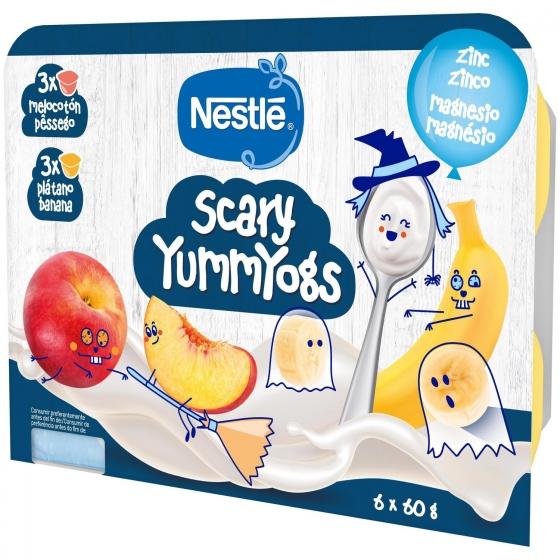 Postre lácteo de plátano y melocotón desde 6 meses Nestlé Yogolino sin gluten pack de 6 unidades de 60 g. - 1