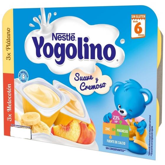 Postre lácteo de plátano y melocotón desde 6 meses Nestlé Yogolino sin gluten pack de 6 unidades de 60 g. - 6