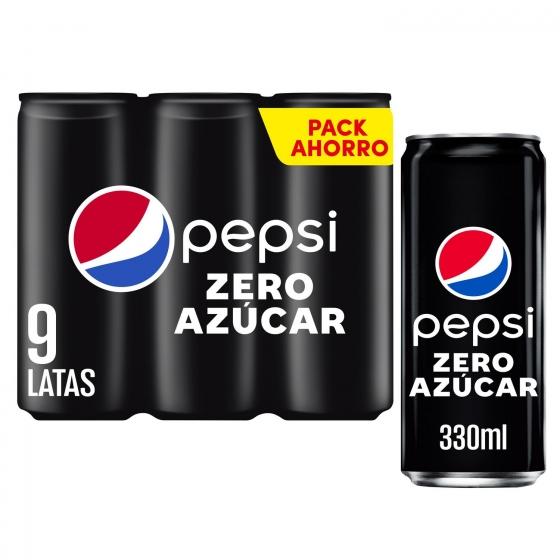 Refresco de cola Pepsi Max zero pack de 9 latas de 33 cl.