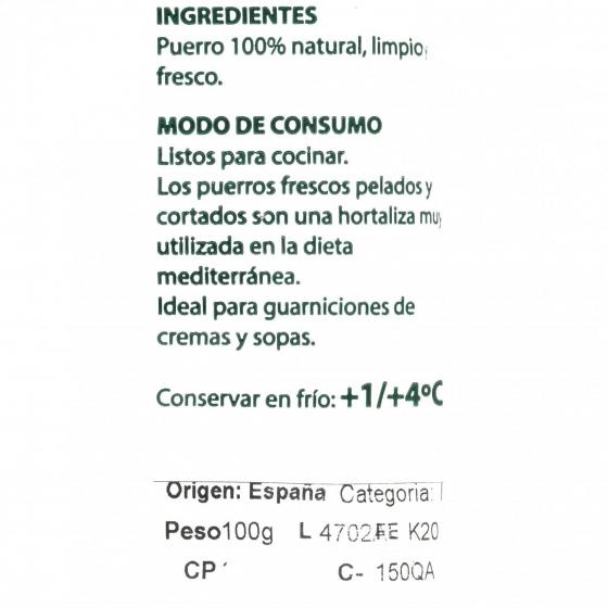 Puerro ecológico troceado  granel 100 g aprox - 3