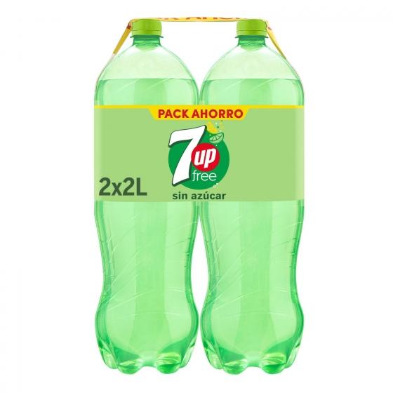 Refresco de lima-limón 7UP con gas sin azúcar pack de 2 botellas de 2 l.