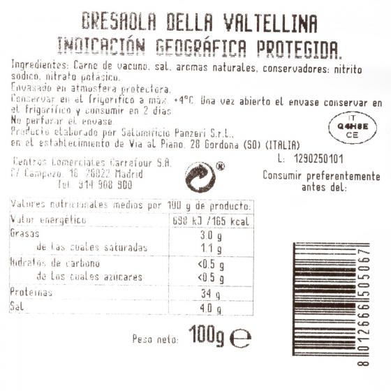 Bresaola curada Della Valtellina loncheada Terre D´Italia envase 100 g - 3