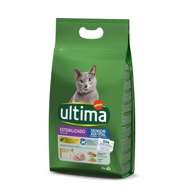 Alimento Seco para Gato Ultima Esterilizados Senior 3 Kg