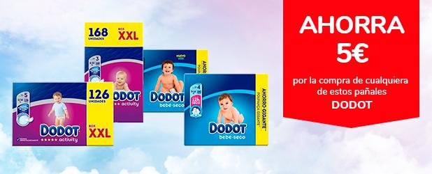 Ahorra 5€ por la compra de cualquiera de estos Pañales DODOT, exclusivo online