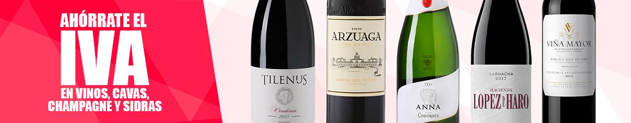 Ahórrate el IVA en todos los vinos y cavas