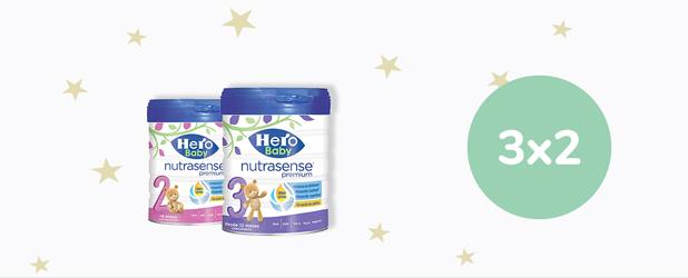 3x2 En leche HERO Baby Nutrasense 800g.