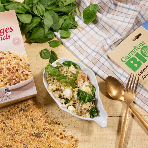 combinado de legumbres y arroz con salmón ahumado