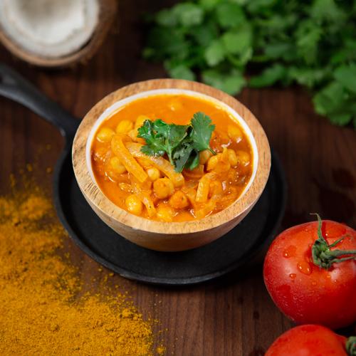 Curry de garbanzos con cilantro
