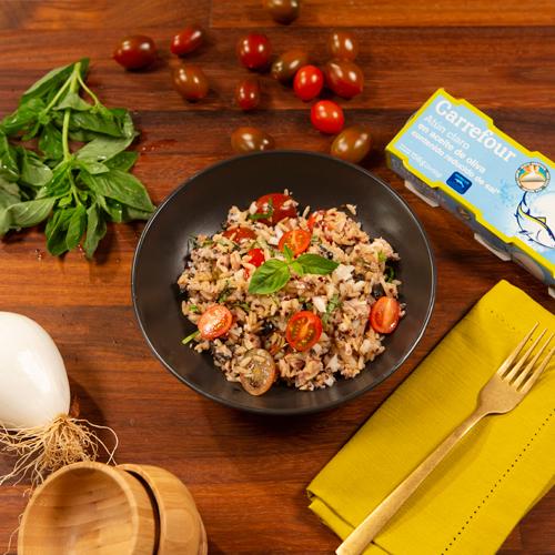 ensalada de arroz, quinoa y atún