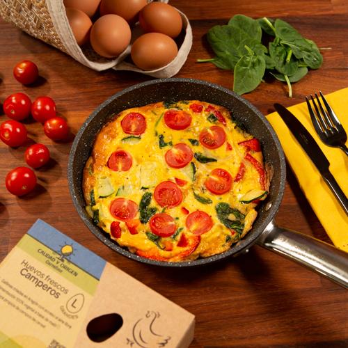 fritatta con verduras y huevos camperos