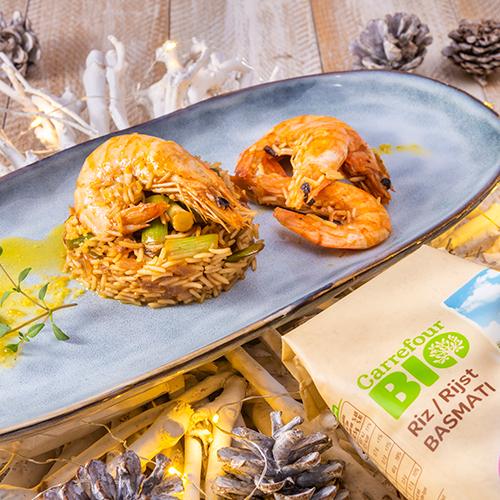 arroz con langostinos congelados