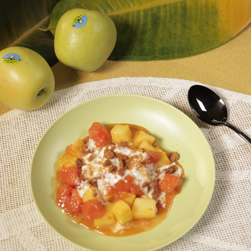 manzana y papaya caramelizada con toffee